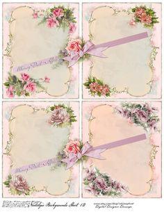 Digital collage sheet, vintage, Nostalgia background sheet 12, instant download, pink roses, scrapbooking, journaling, cards