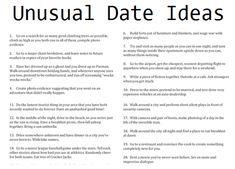 date ideas - I LOVE some of these! I'm going to use them for my date night jar I'm making for Joe for valentine's day. Romantic Date Night Ideas, Romantic Dates, Cute Relationships, Relationship Advice, Cute Date Ideas, Unique Date Ideas, Cheap Date Ideas, Date Ideas For New Couples, Unusual Date