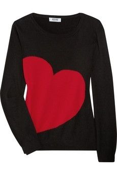 Moschino Cheap and Chic | Knitted heart intarsia sweater | NET-A-PORTER.COM - StyleSays