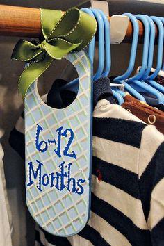 future children: size hangers for a kid's closet {decorated doorknob hangers}