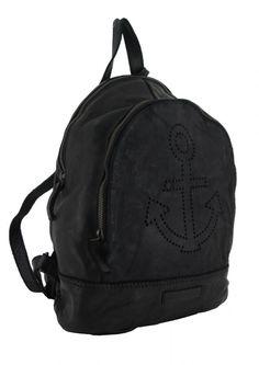 Vintage Stil, Rind, Ash, Backpacks, Pearls, Leather Cord, Anchor, Shoulder, Silver