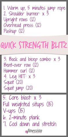 Quick strength blitz. This takes about 30 minutes to complete and will have you dripping in sweat!