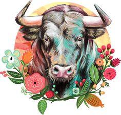 Ox Tattoo, Taurus Tattoos, Cow Skull Art, Cow Art, Zodiac Art, Zodiac Signs, Taurus Art, Looks Country, Rock Painting Patterns