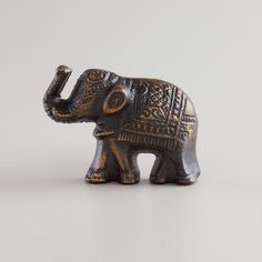 One of my favorite discoveries at WorldMarket.com: Antique Brass Elephant Knobs, Set of 2