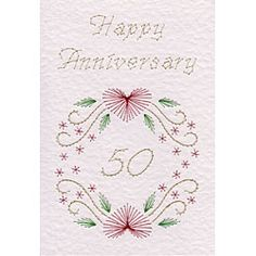 Flower Circle Anniversary 50 | Special Occasions patterns at Stitching Cards.