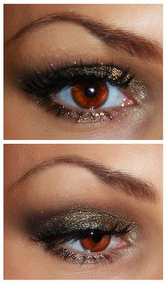 Brownish-gold with a hint of an olive green - great alternative to your basic black smokey eye!