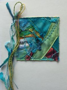 Blank card, Greeting card, aqua & green by KathyTDesigns on Etsy Fabric Cards, Fabric Postcards, Crazy Patchwork, Patchwork Fabric, Art Textile, Textile Artists, Textiles, Scrap Fabric Projects, Fabric Brooch