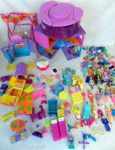 Lot Polly Pocket Dolls Hotel Stable Clothes Accessories Toy Girls Case Bag