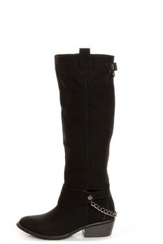 Yoki Kelsey Black Chain Gang Knee High BootsLove it!  $58 Vegan Suede.