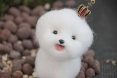 Needle felted kawaii animal cute animal white dog by iFeltify