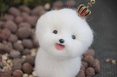 Needle felted kawaii animal cute animal white dog by iFeltify