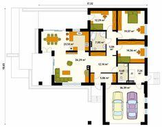 Aksamit 4 projekt domu Design Case, Planer, Ideas Para, My House, House Plans, Floor Plans, Construction, Villa, House Design