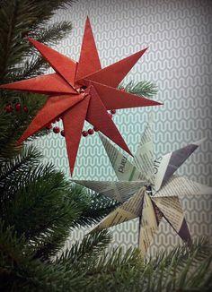 Julens finaste pynt gör du enkelt själv med hjälp av gårdagens tidning eller överblivet papper. De här stjärnorna har vi gjort helt utan tejp eller lim. Bara att vika och sätta i granen. Beskrivningen hittar du på Ica Kurirens hemsida http://www.icakuriren.se/Hem-Tradgard/Fixa-och-snickra/Finaste-julpyntet--gor-du-sjalv/ Lycka till!