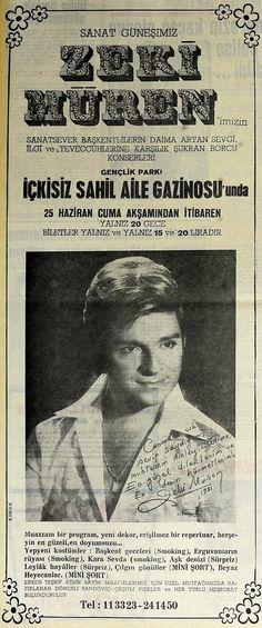 Zeki Müren Gazino İlanı Advertising History, Old Advertisements, Old Poster, Photography Exhibition, Type Setting, Old Ads, Vintage Paper, Vintage Posters, Cover Art