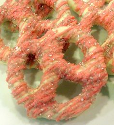 SOURCE: Amazing chocolate covered pretzels. Large size, any color, sparkly sprinkles, etc. $18/dozen