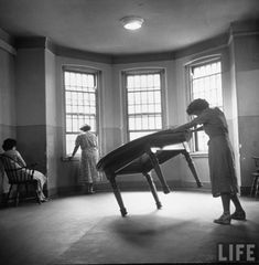 Patient lifting a table in hospital (1949 Herbert Gehr, LIFE Magazine) via www.opacity.us