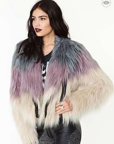 Coat: nastygal, faux fur jacket, ombre, trendy, new years, winter, winter outfits –