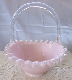 Vintage Fenton Glass Silver Crest Milk Glass Handled Ruffled Edge Basket Durable Service Pottery & Glass Art Glass