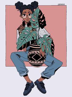 Art by PeoMichie Black Girl Art, Art Girl, Pretty Art, Cute Art, Psychedelic Art, Illustration Art, Illustrations, Afro Art, Animes Wallpapers