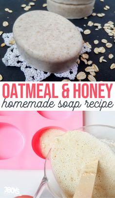Homemade Oatmeal and Honey Soap is the perfect soap recipe for dry and sensitive skin. This oats and honey soap bar make a super simple homemade soap recipe. #soaprecipe #DIYsoap #homemadesoap #3boysandadog Homemade Oatmeal, Oatmeal Soap, Oats And Honey, Essential Oils For Kids, Honey Benefits, Honey Soap, Homemade Soap Recipes, Soap Bar, Oatmeal Recipes