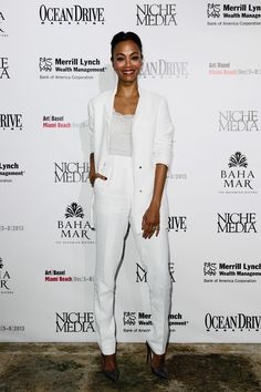 Get the Look: Zoe Saldana's Niche Media Party Lanvin Jacket, Pleated Trousers, and Christian Louboutin Python Pumps - The Fashion Bomb Blog : Celebrity Fashion, Fashion News, What To Wear, Runway Show Reviews