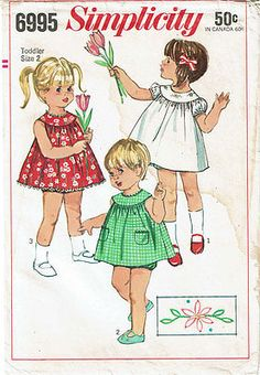 1960s Vintage Simplicity Sewing Pattern 6995 Baby Girls Sun Dress & Bloomers Sz2