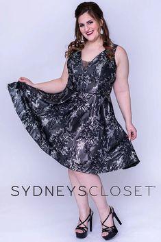 Sydneys Closet Short Floral Plus Size Homecoming Dress   DressOutlet – The Dress Outlet Plus Size Short Dresses, Plus Size Gowns, Expensive Dresses, Metallic Prints, Formal Cocktail Dress, Plus Size Shorts, Fall Skirts, Printed Skirts, A Line Skirts