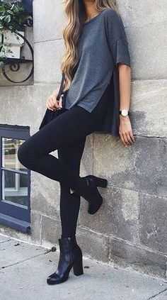 I like the rock and roll boots paired with the relaxed and modest top.