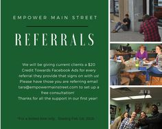 We are so thankful for all of our clients allowing us to help them throughout our first year! We will now be offering a great promotion for all of our current clients!! #localshelpinglocals #referrals #socialmedia #webdesign #marketing #empowermainstreet
