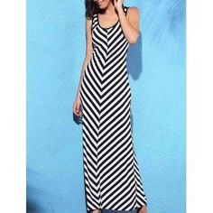 DressLily - Dresslily Scoop Neck Sleeveless Striped Slimming Women s Dress - AdoreWe.com