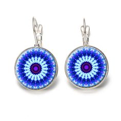 >> Click to Buy << Vintage Silver Color Jewelry Mandala Flower Earrings Blue Round Glass Cabochon Dome Om Earrings Handmade Hinduism Jewelry #Affiliate