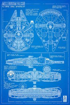 "starwarsgalaxys: "" Wallpaper of Mark Brooks Millennium Falcon blueprint for Han Solo #1 """