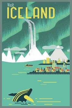travel poster vintage iceland - Google Search                                                                                                                                                                                 More