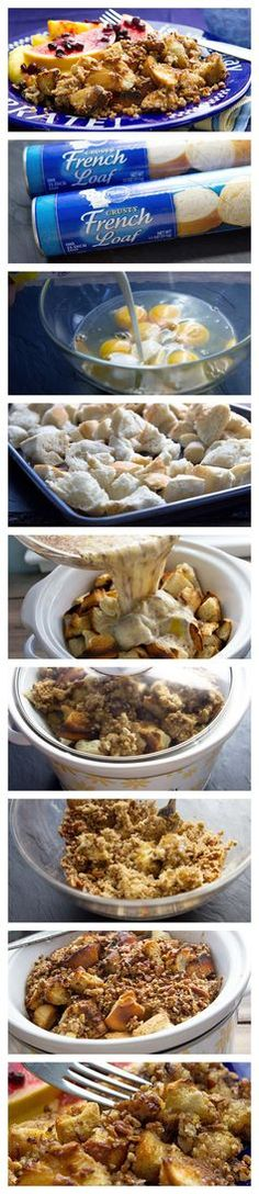 Slow Cooker French Toast Casserole made with crusty French loaf!