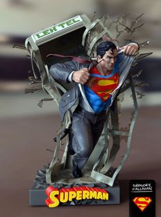 Diorama of Superman busting into action Dc Comics, Action Comics 1, Superman Art, Superman Man Of Steel, Superman Stuff, Chibi Superman, Superman Figure, Anime Figures, Action Figures
