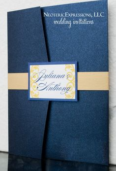 Wedding Invitation  Metallic Navy Blue Gold by NeotericExpressions,