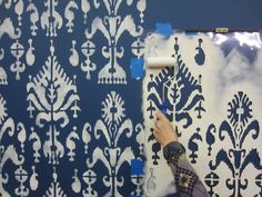 How to stencil a DIY accent wall using the Ikat Samarkand Stencil from Cutting Edge Stencils. http://www.cuttingedgestencils.com/ikat-stencil-uzbek.html
