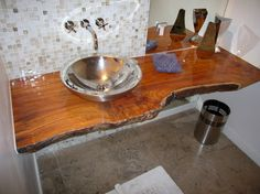 Wood Slab Vanity Bathroom Design Ideas, Pictures, Remodel and Decor