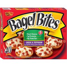 Ore-Ida Bagel Bites Cheese and Pepperoni Frozen Mini Bagels - Cereal Recipes, Snack Recipes, Best Frozen Meals, Frozen Appetizers, Ore Ida, 17 Kpop, Bagel Bites, Pizza Snacks, Frozen Pizza