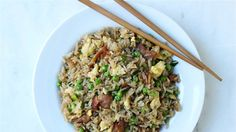 Use up that extra takeout rice to make a fast bacon and egg fried rice
