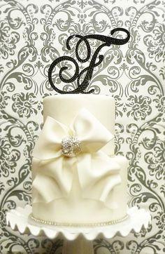 Elegant Painted Monogram cake toppers by panachebride
