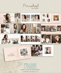 12x12 Album Template Pinwheel by frankandfrida on Etsy, $40.00