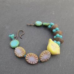 Little bird bracelet polymer beaded bracelet knotted by BeadyDaze, £20.00