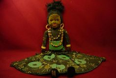 """ANTIQUE VINTAGE 1930s BIG ISLAND GIRL 19"""" DOLL BY NORAH WELLINGS GLASS EYES"""