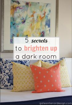5 secrets to brighten up a dark room is part of Dark Living Room Brighten - Does your home feel dark and gloomy even in the middle of the day Here's 5 tips to brighten a dark room and get out of the dark! Brighten Room, Dark Basement, Basement Plans, Dark Living Rooms, Tiny Living, Living Area, Up House, Room Lights, Up Girl