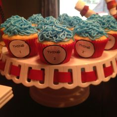 Suess theme cupcakes Dr Suess Baby, Themed Cupcakes, Showers, Parties, Desserts, Food, Fiestas, Tailgate Desserts, Deserts