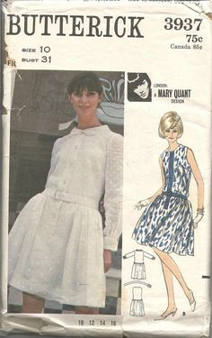 5cf8c17aecf 1960s Mary Quant Dropped Waist Dress Sleeve Variations Jewel Neck or Collar  Overskirt Butterick 3937 Bust 31 Uncut FF Vintage Sewing Pattern