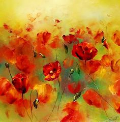 Cuadros Modernos: Pintura Moderna al Óleo (Flores)