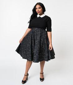 d4a7b01885 Plus Size Vintage Style Black Galaxy Constellation Print Cotton Circle – Unique  Vintage Plus Size Skirts