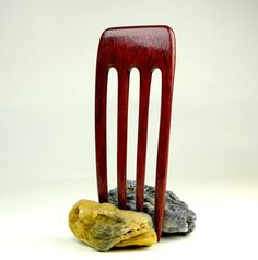 """Curved Four Prong Hair Fork Purpleheart by GoodVillageWoodcraft - if only it was 4.5"""" PFL"""